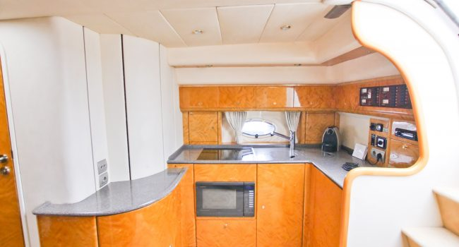 Princess V40 Cotton Yacht Boat Ibiza Rental Alquiler Barcoibiza Kitchen