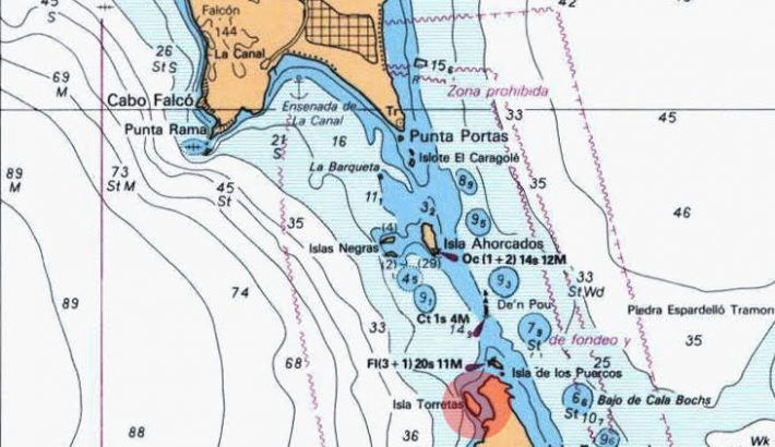 Zonas peligrosas de navegación entre Ibiza y Formentera