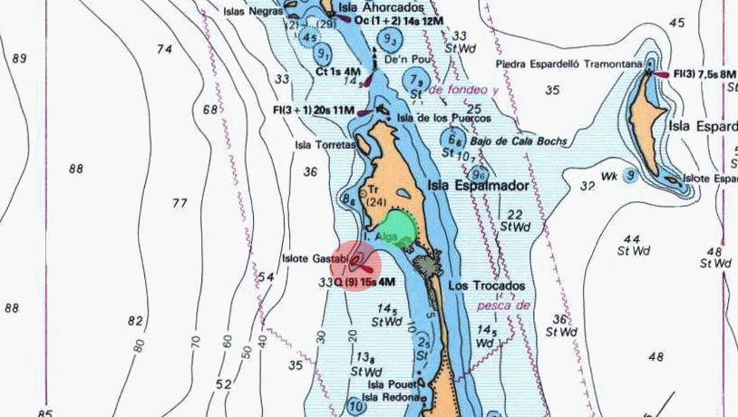 Mapa de Espalmador con zona de peligro para navegación en el Bajo de Castabi