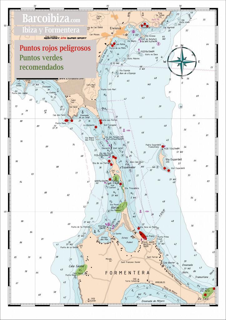 Mapa de navegación Ibiza Formentera con zonas de peligro y zonas seguras