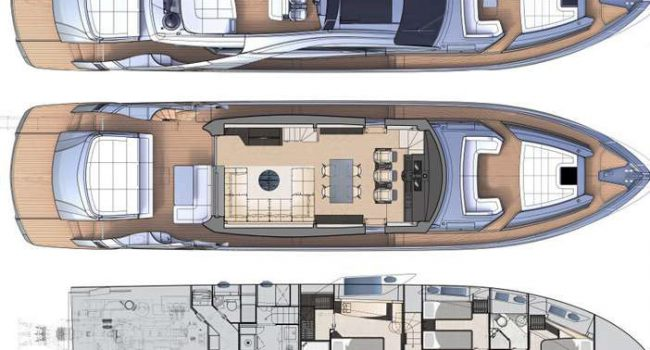 Pershing 8x Beyond Yacht Rental Ibiza Lay Out
