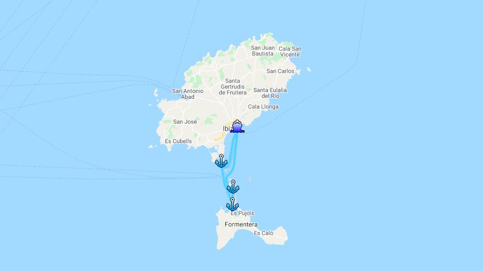 Ruta de navegación clásica Ibiza - Formentera