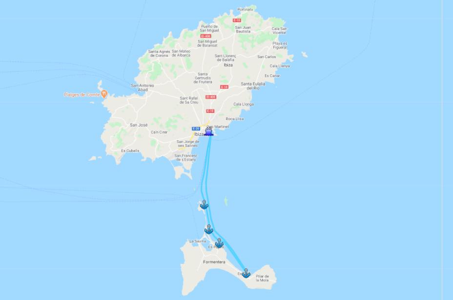 Ruta en barco Ibiza Formentera Levante